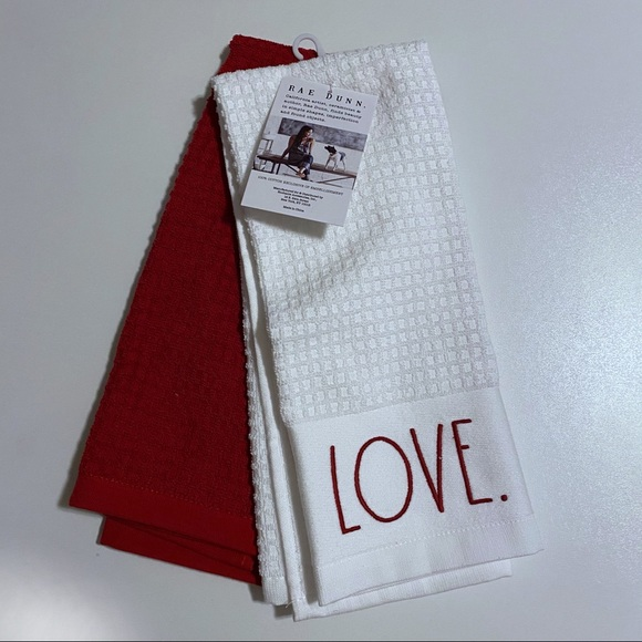 Rae Dunn NWT Love Kitchen Towels Set of Two